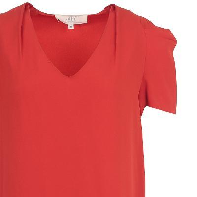 pin-tuck sleeve v-neck dress red